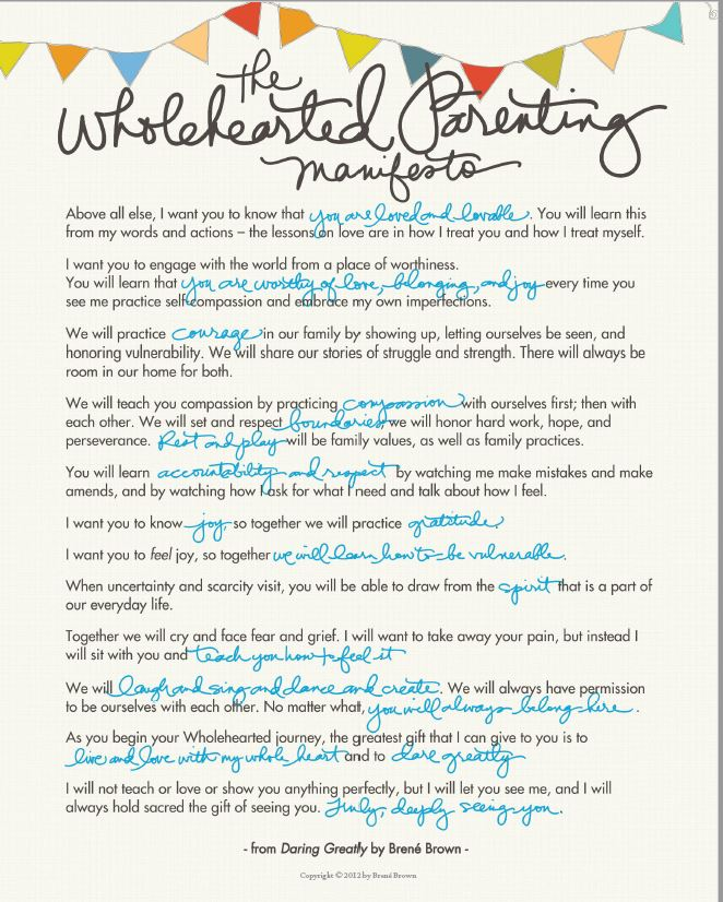 Daring Greatly Parenting Manifesto