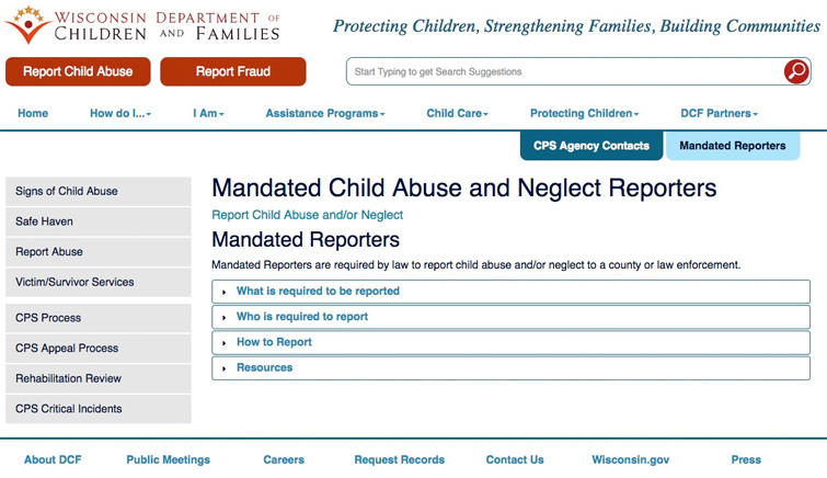 WI Department of Children and Families Mandatory Reporting
