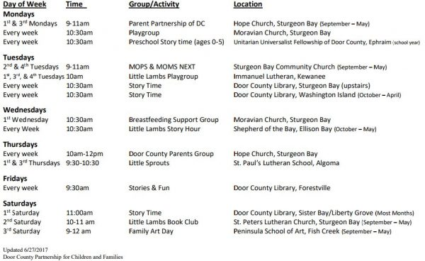 Door County Parent Family Groups and Activities