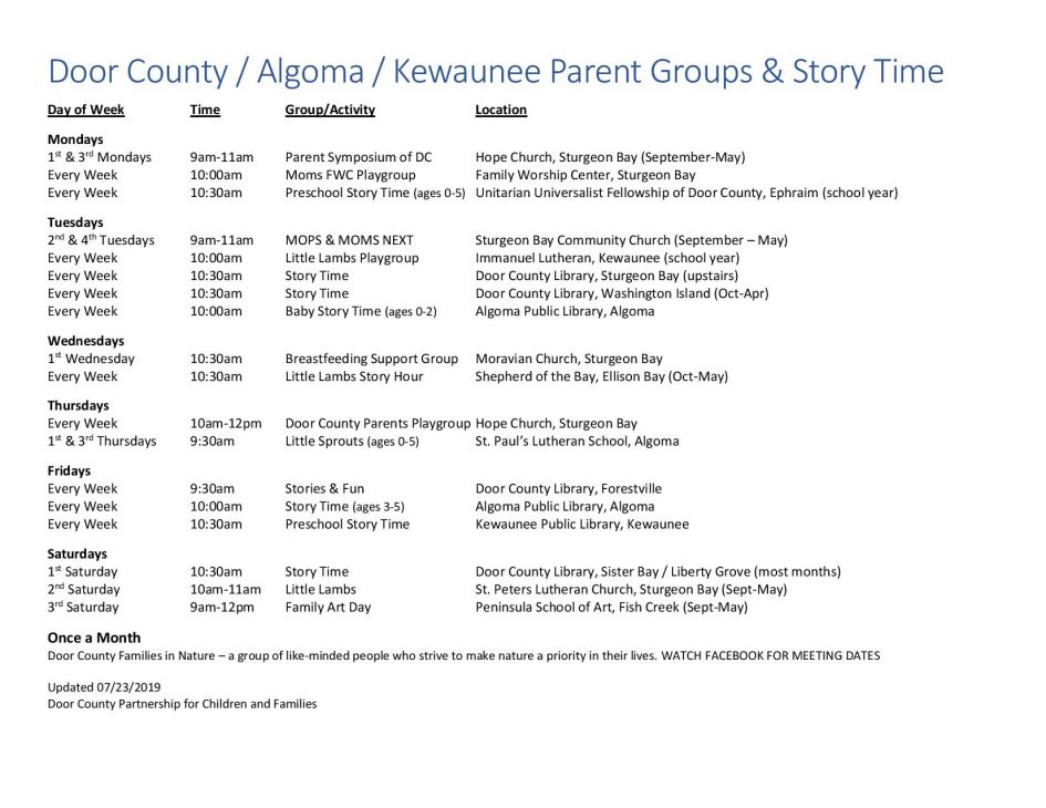 Parent Groups in Door County