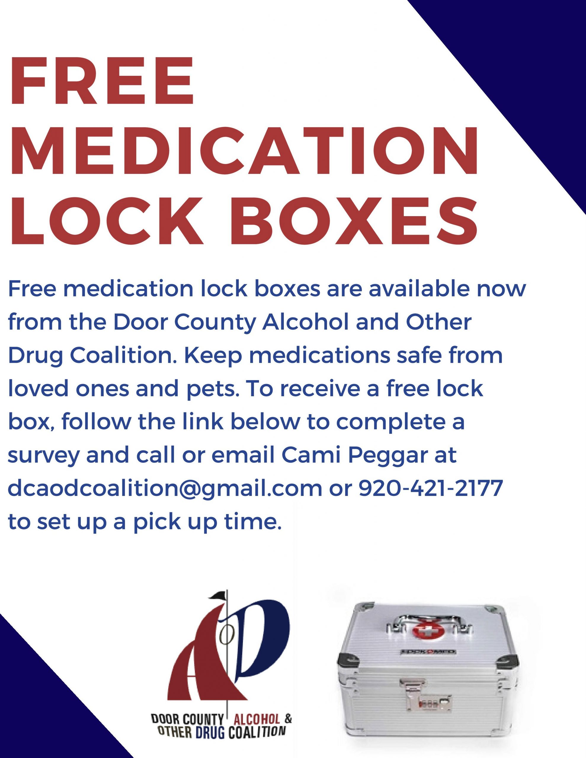 FREE medication lock boxes available