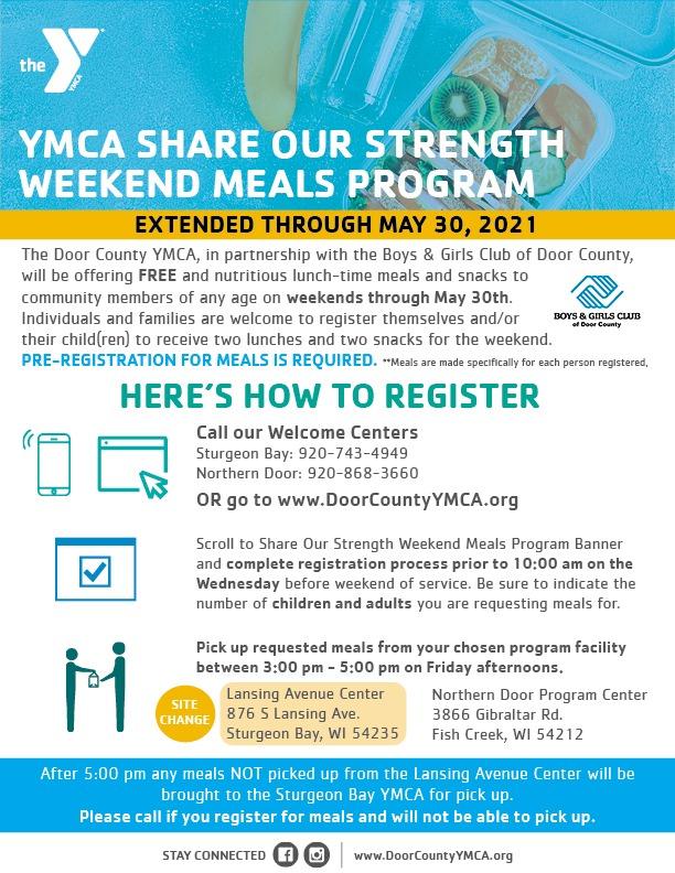 YMCA Door County FREE meals